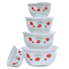Enamel Salad Bowl 5PCS Set with Plastic Cover