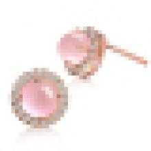 Green Agate Hibiscus Stone Earrings