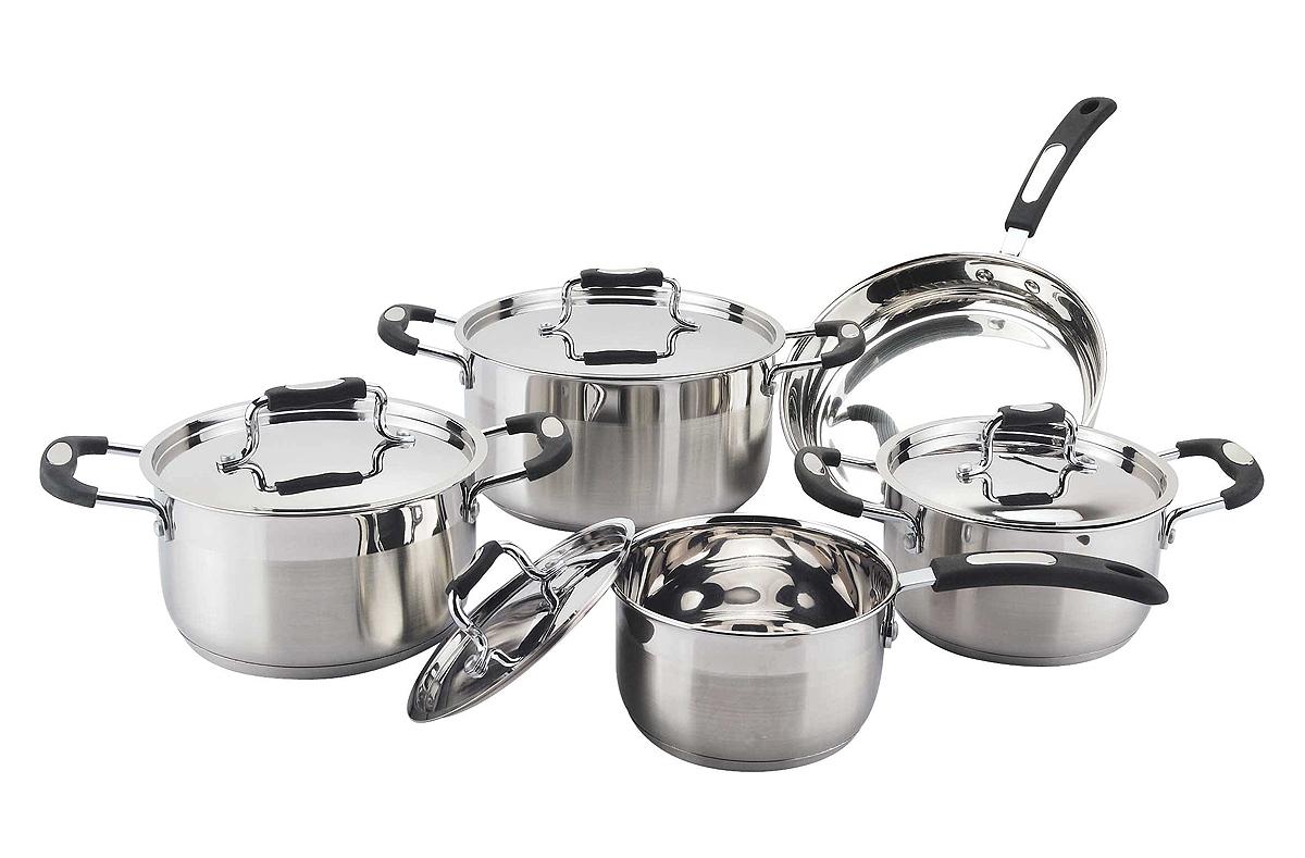 Flat shape ss lid 10pcs cookware set