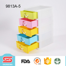 new product colorful desktop storage make up organiser with 5 layers drawer