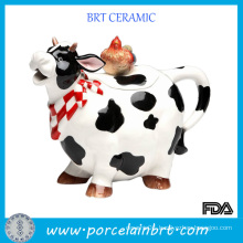 Lovely Cow Shaped Ceramic Cookie Pot with Chicken Lid