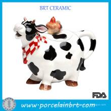 Прекрасный корова Shaped керамический горшок для печенья с куриной крышкой