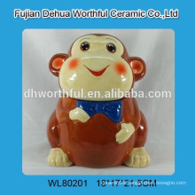 Elegant ceramic storage tank with monkey design