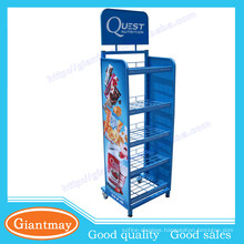 Custom blue five layers basket potato chip rack metal display stands with wheels for supermarket retail store