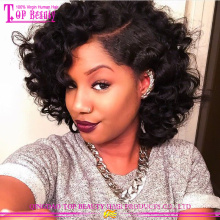 New arrvial short deep wave wigs 2015 hot sale deep wave lace front wig wholesale cheap glueless lace front wig