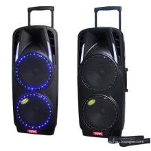 Sistema de megafonía portátil doble de 10 pulgadas con batería recargable y micrófonos VHF inalámbricos duales / conectividad Bluetooth F73