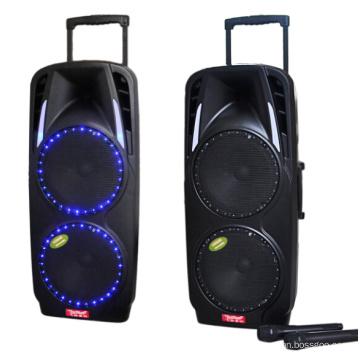 Duplo 10 ′ ′ Sistema de PA Portátil com Bateria Recarregável e Microfone de Mão VHF Sem Fio F73