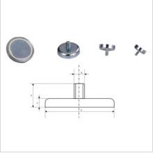 Nickel Coated Neodymium Female Thread Pot Magnet (UNI-Pot-io8)