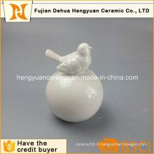 Garden Decoration White Ceramic Bird with Big Ball