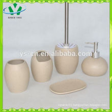 5 pcs handmade ceramic bathroom set wholesale with toilet brush holder
