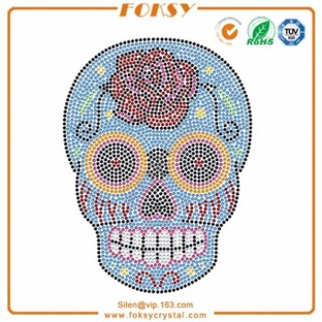 Leading for Skull Rhinestone Transfer, Sugar Skull Rhinestone Transfer Supplier in China Roes Flower Skull rhinestone transfers custom export to Bermuda Exporter