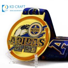 Factory supply custom metal round shaped enamel epoxy sports football medal with blue printed ribbon