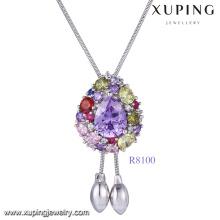 xuping collier de chaîne de bijoux en pierre de diamant rhodium en or blanc, dernières créations bijoux colliers pendentif