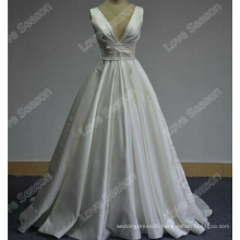 LS0164 Real high quality bridal dress deep v neckline new arrival wedding dress poly spandex heavy dull satin for wedding dress