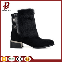 rubber heel real animal fur leather boots