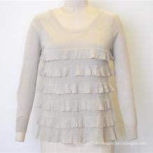 Nouveau Sweat en tricot à la mode de couleur pure ondulé