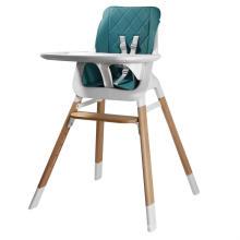 Chaise haute en plastique avec pieds en bois pour bébé