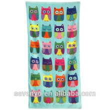 colorful owl pattern pigment print with tassels Hand towels Ht-009