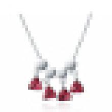 925 Sterling Silber Halsketten Taube Blut Rot Rubin Romantische Dreieck Anhänger Halskette für Frauen Engagement schmuck