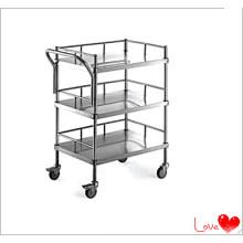 Stainless Steel Hospital Three Shelf Trolley