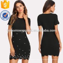 Perle verzierte Jakobsmuschel ausgestattet Kleid Herstellung Großhandel Mode Frauen Bekleidung (TA3160D)