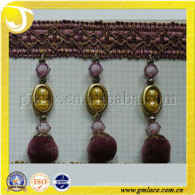 Larga perla púrpura hermosa franja de ajuste borla para la decoración de la cortina
