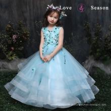 XXLF202 sem mangas azul flor fantasia vestido costumes flor pino para vestido longo