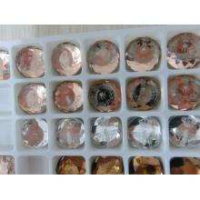 Cuentas de vidrio con fondo plano y piedras con imagen de logotipo