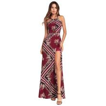 Завод прямых продаж большой размер с длинным рукавом Макси дамы boho цветочные печати моды платье модель