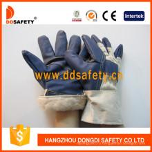 Белая хлопчатобумажная задняя полная футеровка Синие перчатки для мебели Dlh106