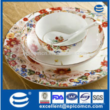 Russo favor impressão jardim série primavera estilo talheres pratos porcelana tigela conjunto