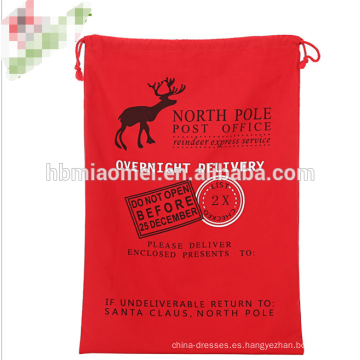 Venta al por mayor Saco de Santa de la lona de la Navidad con el lazo rojo