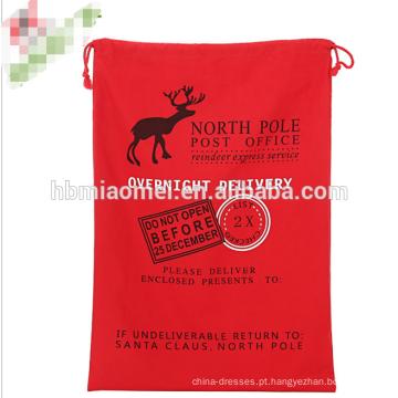 Saco de Papai Noel de lona de Natal por atacado com cordão vermelho