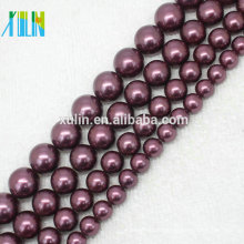 AAA 6-14mm Deep Purple Natural Mar Do Sul Pérolas Shell Rodada Beads Colar