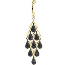 Plaqué or Faux Opaque Black Stone Teafrops Chandelier Fake Belly Ring