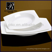 fashion outside porcelain rectangular soup plate with streak rim