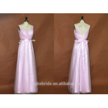 Ever Pretty Elegant V-neck Long Tulle Maxi Bridesmaid Dress with Sash
