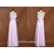 Тех довольно элегантный V-образным вырезом с длинным тюль Макси платье невесты с Sash