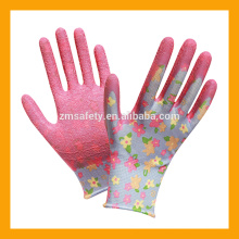 13Gauge Flower Print Polyester Liner recubierto barato guantes de látex Garden Flower Gloves