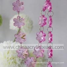 28*28MM flower acrylic crystal plastic bead garland wholesale