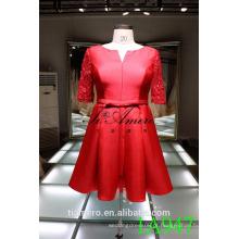 1A947 Vestido de cetim vermelho Vestido de noiva Vestido de noiva Comprimento do joelho Vestido de noiva