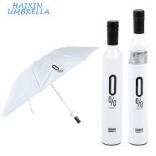 Nuevo Diseñador de regalos de puerta promocional 3 botellas de vino plegable Deco Blanco pequeño Paraguas de cuerpo completo para venta en Estuche
