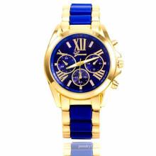 Mode geneve montre en or plaqué or étui en acier inoxydable dos femme montres à quartz femme quartz