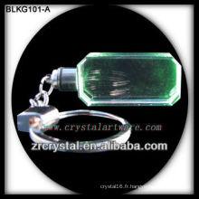 vente en gros porte-clés en cristal rectangle blanc pour la gravure au laser