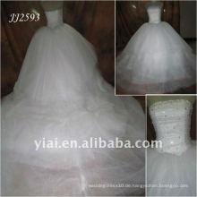 JJ2593 sehr lange Schwanz Puffy weißen Tüll Hochzeitskleid Kristall Steine
