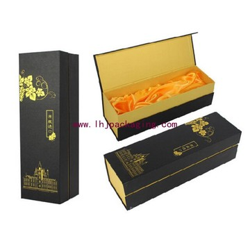 High Quality Gold Paper Packaging Gift Box with Satin and Foil Stamping