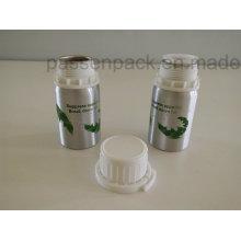 Frasco de alumínio 100ml com tampa inviolável de plástico branco (serigrafia)