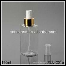 bouteille en plastique, bouteille carrée en plastique, bouteille en plastique de lotion de 120ml avec la pompe en or