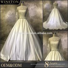Profesionales fábrica de China corto vestidos de novia con tren largo