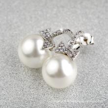 Элемент подарка роскошного подарка самый последний вися перлы белого золота и кубической серьги zirconia